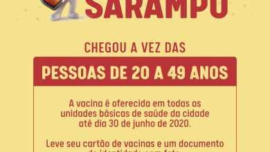 Photo of Secretaria de Saúde realiza campanha de vacinação contra o sarampo para pessoas de 20 a 49 anos pessoas