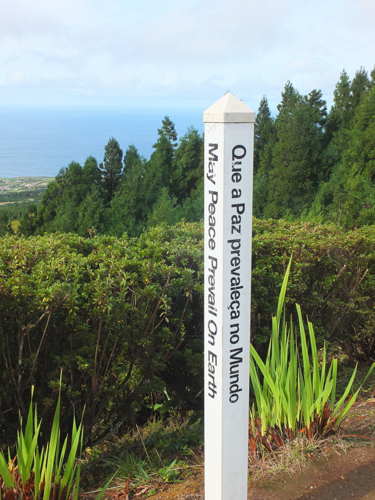 "Signpost: ""May peace prevail in the world"""