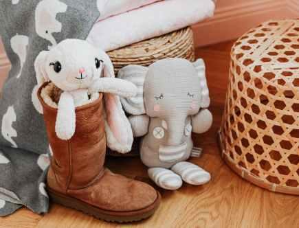 brown and white polka dot elephant plush toy