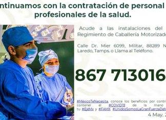 Sedena lanza convocatoria para contratar personal de salud
