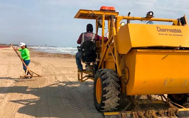 Retiran hasta con máquina el sargazo en Playa Miramar