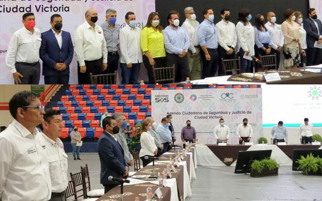 Firman candidatos agenda de seguridad