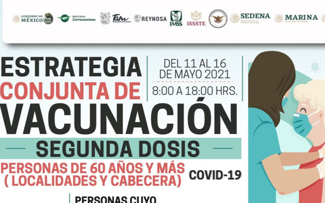 Invita Municipio a adultos mayores a recibir segunda dosis anti COVID-19