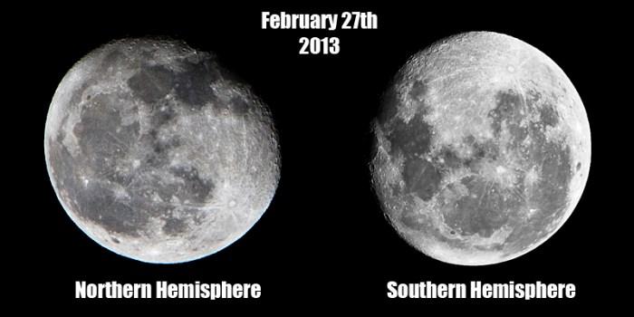 Imágenes de la Luna tomadas la misma noche, pero desde distintos hemisferios. La imagen de la izquierda fue tomada cerca de Atlanta en Estados Unidos, mientras que la derecha fue tomada en Johannesburgo, Sudáfrica. Imagen de Rustin788 vía reddit (/r/astrophotography)