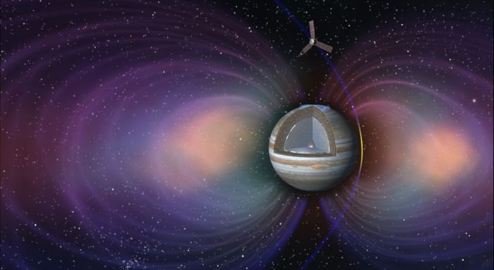 Representación artística de Juno pasando por las bandas de radiación de Júpiter. Imagen: NASA