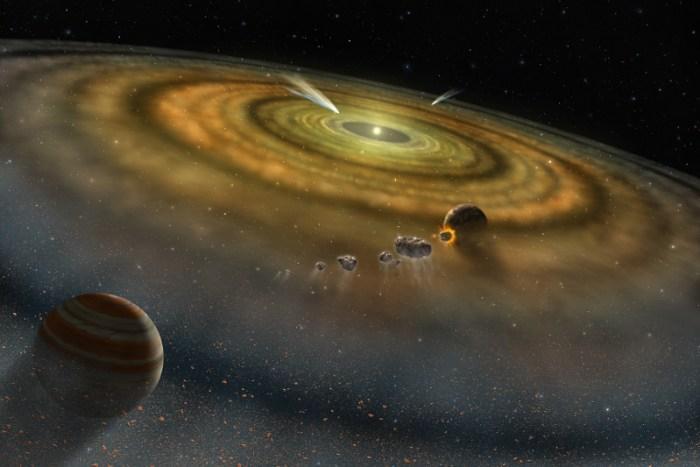 Representación artística de un sistema planetario en formación. Imagen: NASA