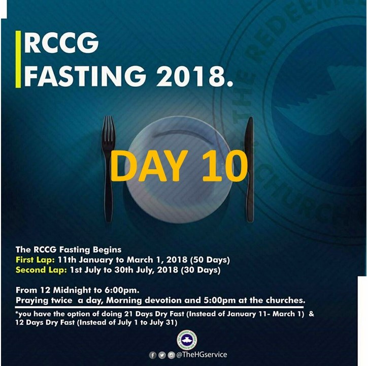 Day 10: RCCG 2018 fasting: (20th January) Prayer Points