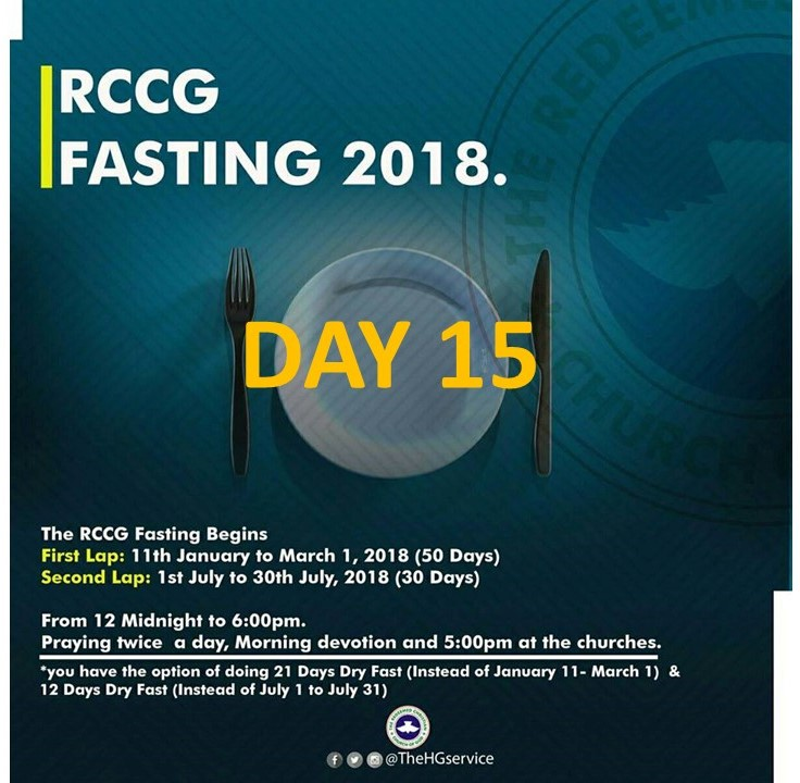 RCCG FASTING AND PRAYER POINTSFOR 2018 DAY 15 (25th January)