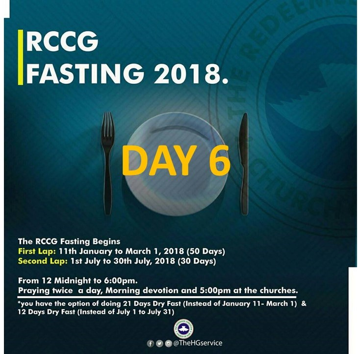 RCCG 2018 fasting : Day 6 Prayer Points