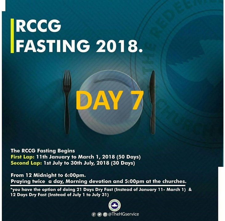 RCCG 2018 fasting & Prayer: Day 7 Prayer Points