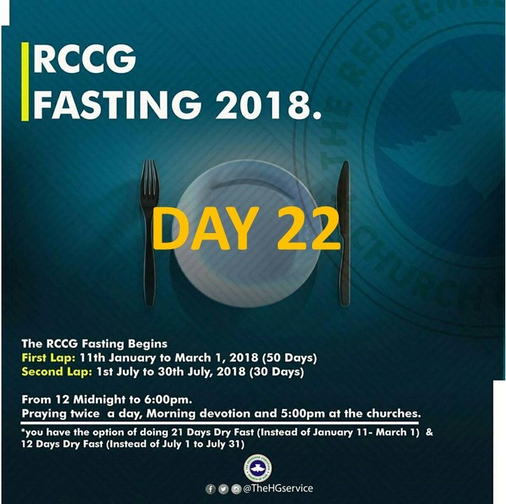 RCCG Redeemed Christain Church of God RCCG 2018 Fasting & Prayer DAY 22