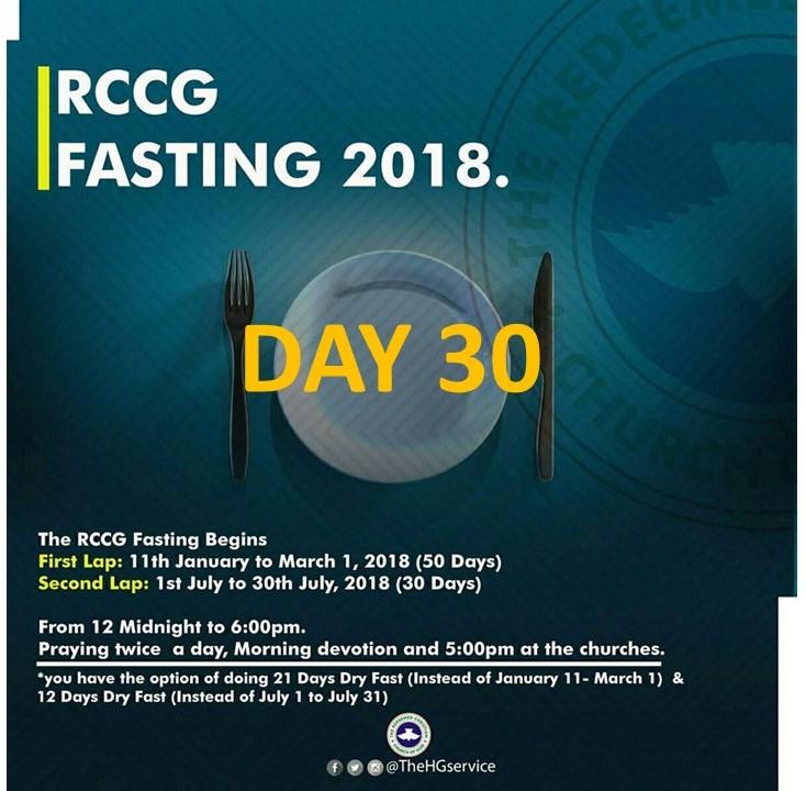 (RCCG) FASTING 2018 DAY 30 PRAYER POINTS