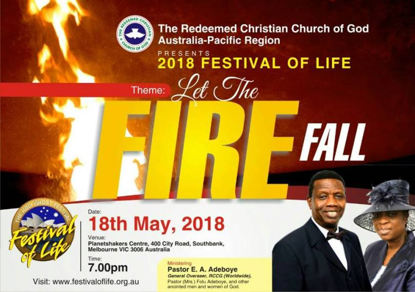 RCCG 2018 Festival of LIFE Australia – Theme: Let the Fire fall » 18th May