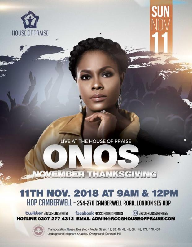 Onos live at RCCG, House of Praise, Camberwell London – Sunday, 11th Nov. 2018