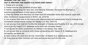 Day 11: RCCG 2019 Fasting Prayer Points – Monday 21st Jan 2019