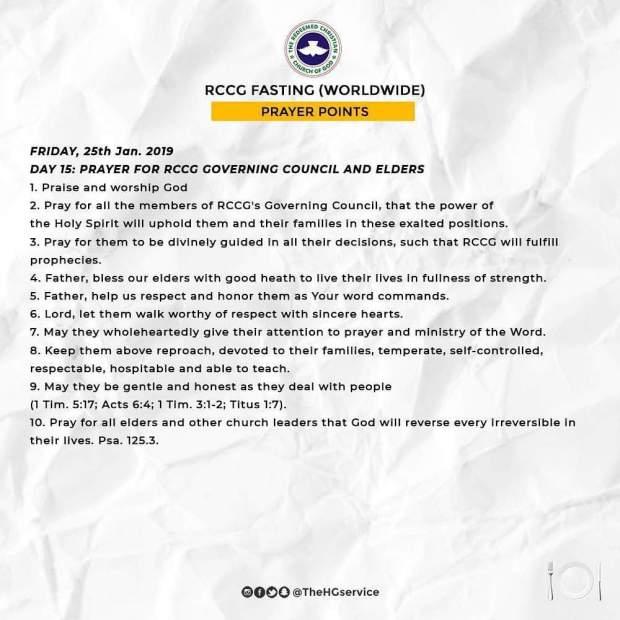 Day 15: RCCG 2019 Fasting Prayer Points – Friday 25th Jan 2019