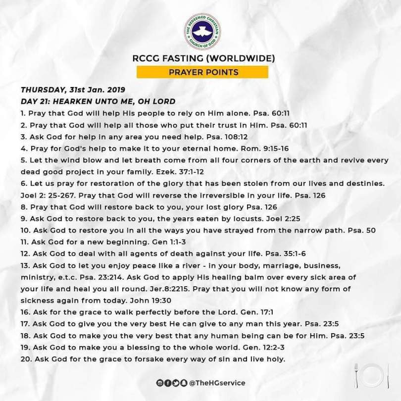 RCCG 2019 Fasting Prayer Points for Today Day 21, Thursday 31st of January.