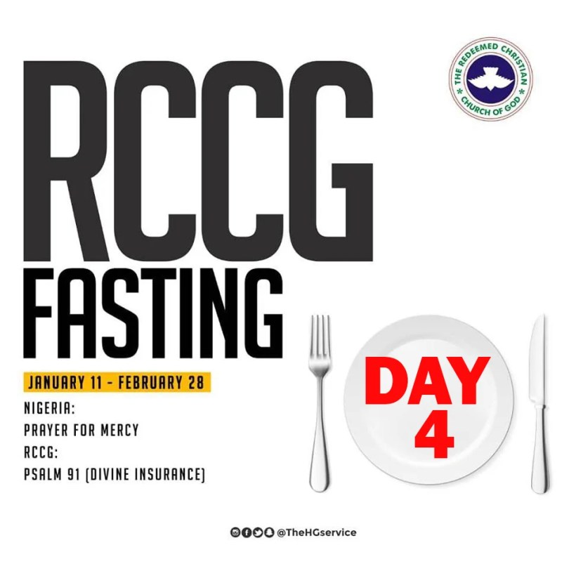 Day 4: RCCG 2019 Fasting Prayer Points – Monday 14th Jan 2019