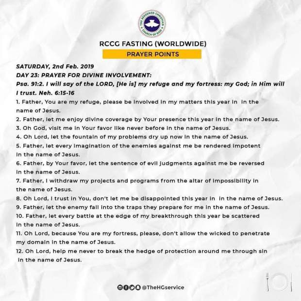 Day 23: RCCG 2019 Fasting And Prayer Points