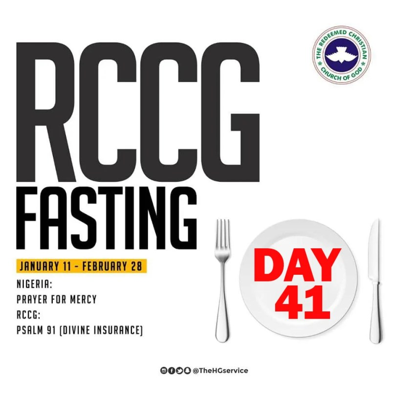 Day 41: RCCG 2019 Fasting Prayer Points – Wednesday 20th February 2019