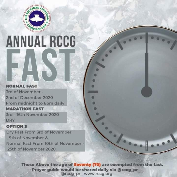 RCCG NOVEMBER 2020 FASTING AND PRAYER