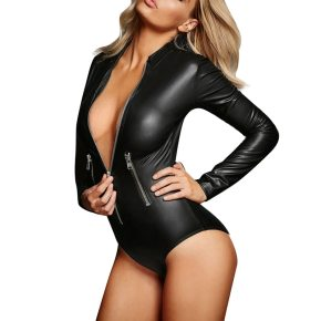 Impress the one you love in this slinky sexy PVC bodysuit. The Long Sleeve Zipper Faux Leather Bodysuit is created to create an impact !