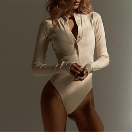 V Neck Knitted Bodysuit For Women