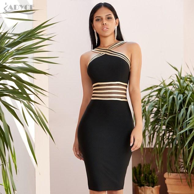 Womens Black & Gold Detailed Dress