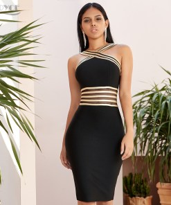 Womens Black & Gold Detailed Dress