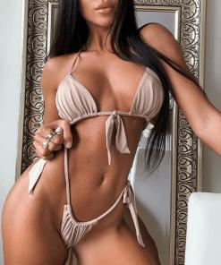 Persian Micro Soft Tie Bikini Beige