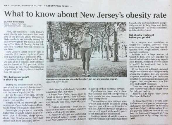 Asbury Park Press article, Nov. 2017.