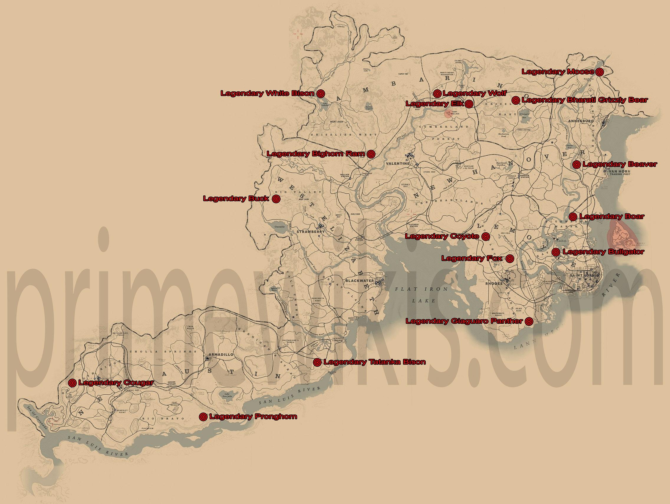 rdr2 legendary animals locations map [ 2273 x 1710 Pixel ]