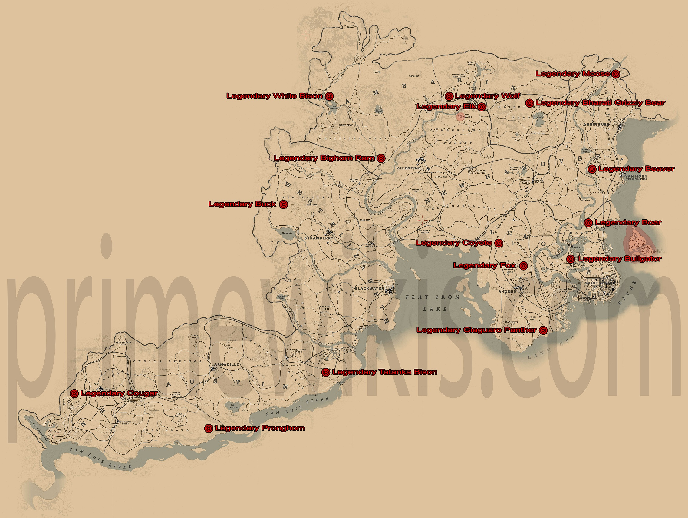 hight resolution of rdr2 legendary animals locations map