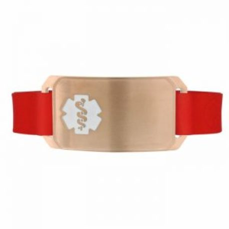 Rose Gold Large Silicone Flex medical id bracelet