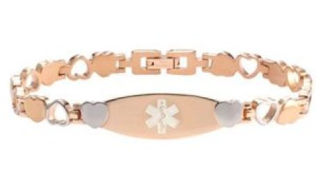 Rose Color Stainless Steel Medical id bracelet