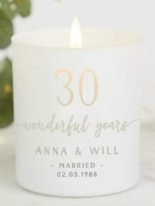 Any Year Anniversary Gift for Couple Personalised Candle