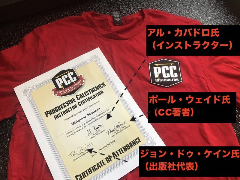 自重トレーニング資格取得証明書と講師用Tシャツ