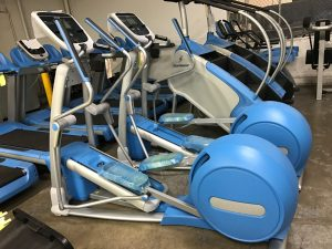 Custom powder blue frames on these ellipticals