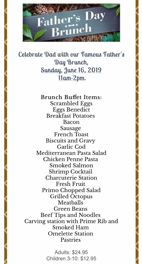 Primo Father's Day Brunch Menu