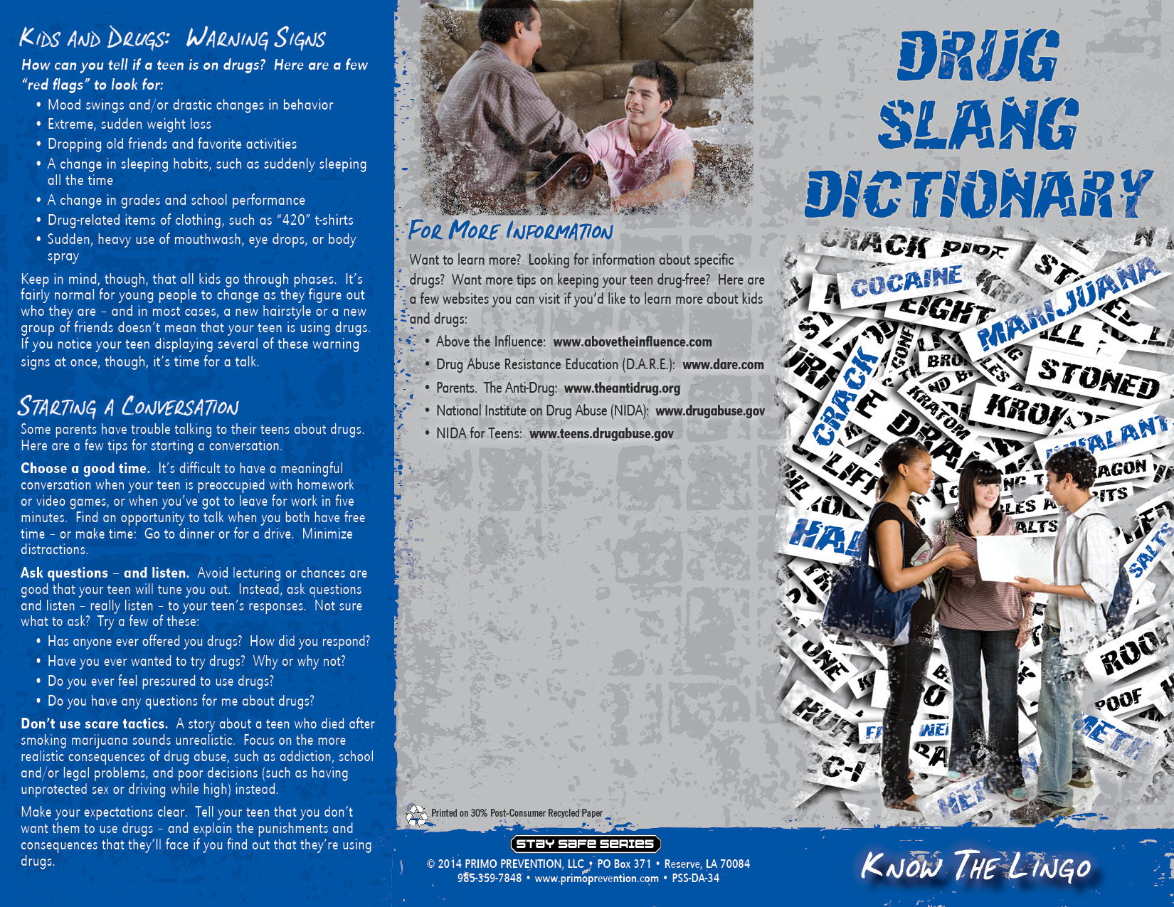 Drug Slang Dictionary Know The Lingo Pamphlet Primo