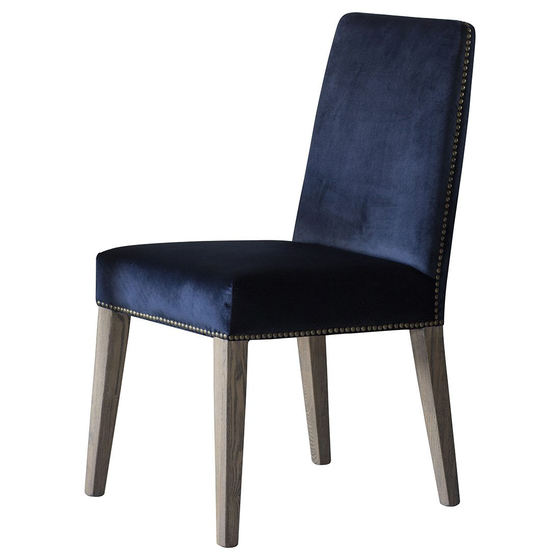 Studded Dining Chairs Midnight Blue Velvet Studded Dining Chair Set Of Two