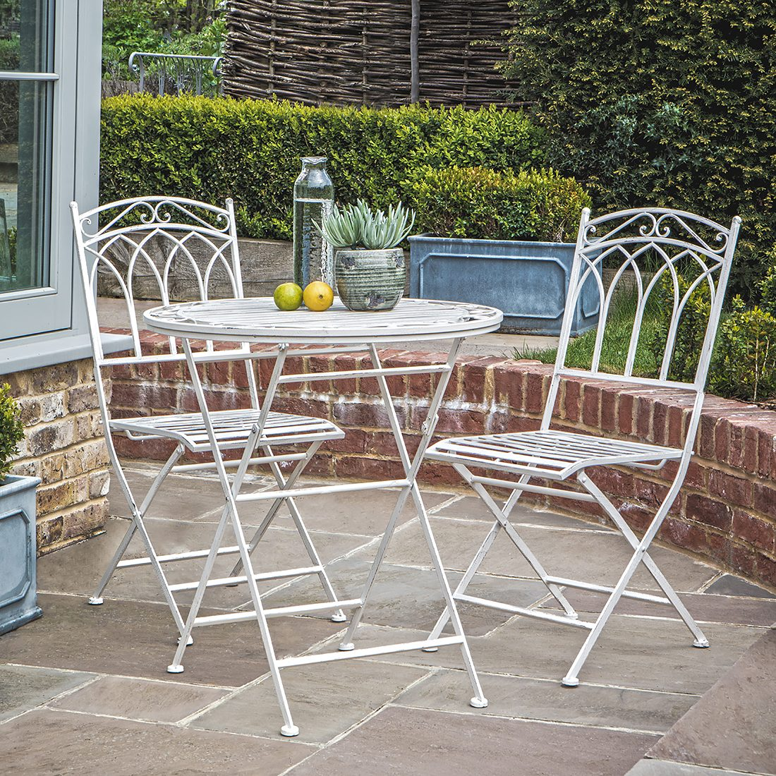Metal Bistro Table And Chairs Outdoor White Metal Bistro Set