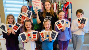 Students Sew Patriotic Appreciation Cards