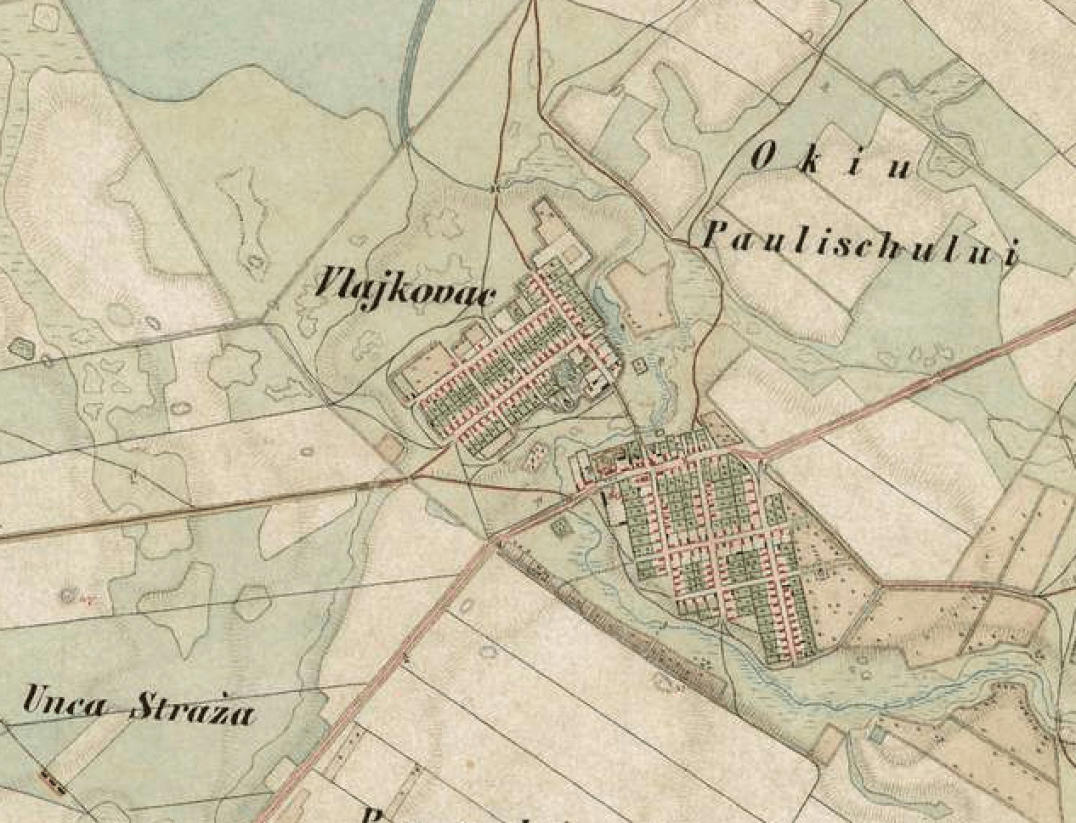 Vlajkovac on the military map 1806-1869