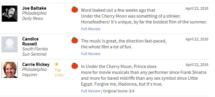 Under the Cherry Moon movie reviews softened after Prince Death