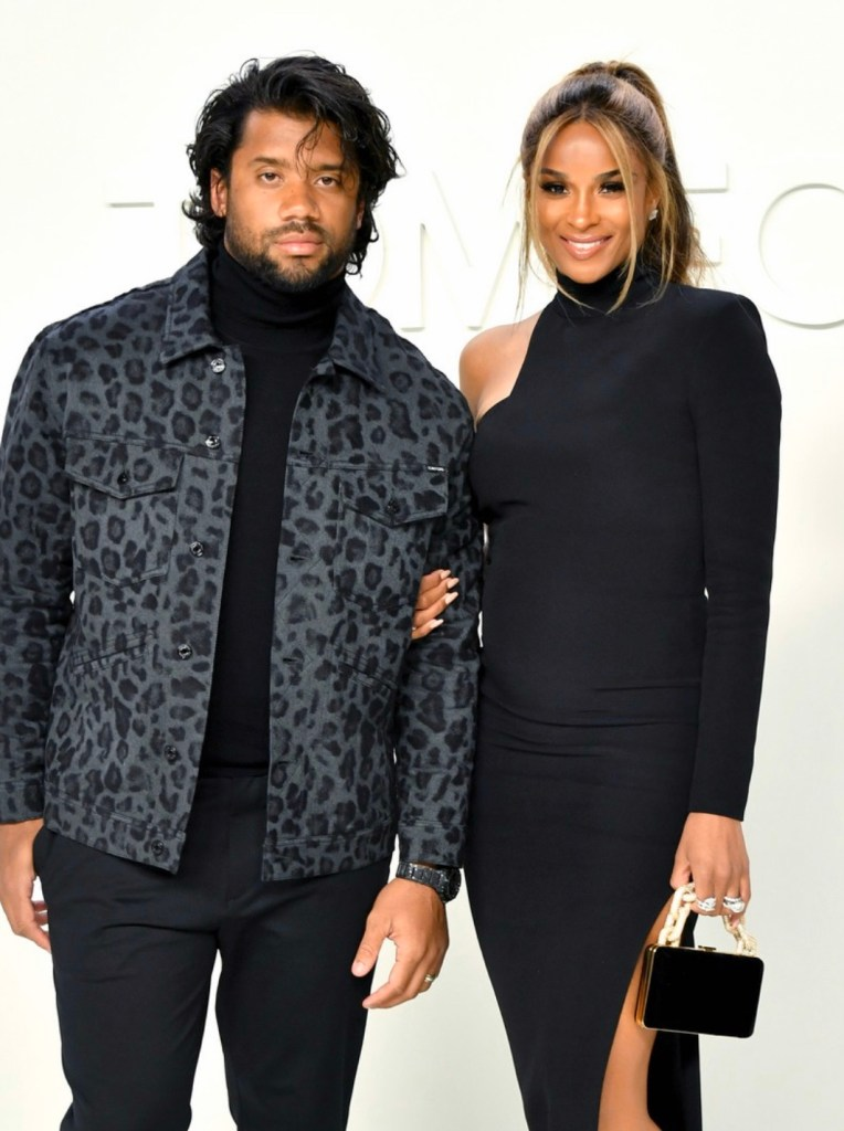 VERY PREGNANT! Russell Wilson, Ciara Shows Off Baby Bump at Tom Ford Fashion Show