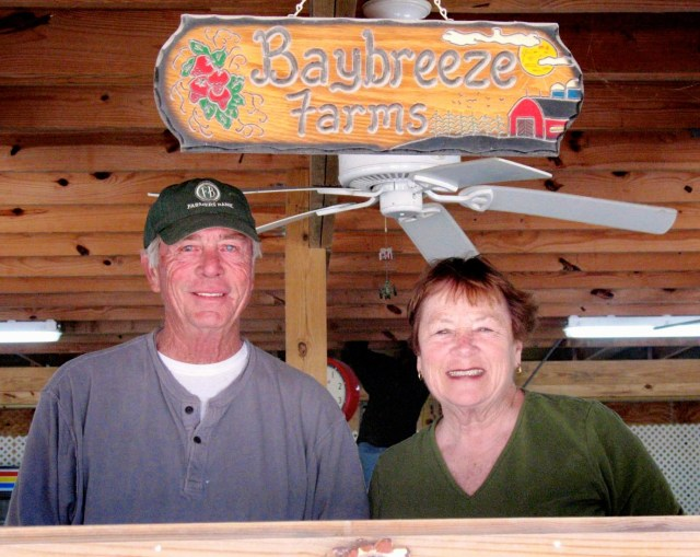 Steve and Cindy Barnes are opening a new BayBreeze Farms stand at 1076 Sandbridge Road. [Janet Yarbrough Meyer/The Princess Anne Independent News]