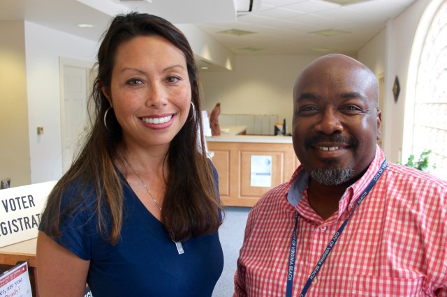 Laura Kane and Keith Heyward, assistant city registrars, run voter readiness workshops that help residents of assisted living facilities stay current and avoid pitfalls that might prevent them from being able to participate in elections. [John-Henry Doucette/The Independent News]