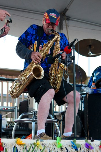 Chuck Williams of The Rhondels plays two saxes at once during the Party at the Pier. [John-Henry Doucette/The Princess Anne Independent News]