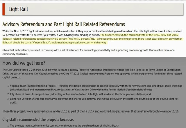 A screen capture of language about light rail that was removed from the Virginia Beach city website on Monday, Nov. 28. [Courtesy of Jimmy Frost]